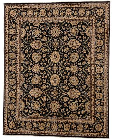 8 x 10 Black/Gold Persian Rug overhead