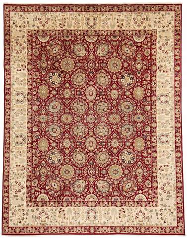 8x10 Ruby Red/Ivory Persian Rug overhead