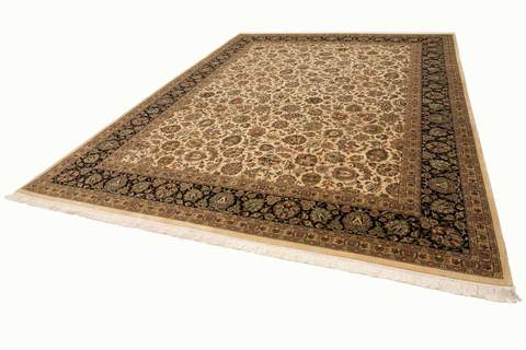 9x12 Pearl/Sage/Walnut Persian Rug floor view
