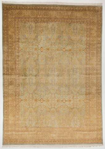 9x12 Tan/Soft Olive Persian Rug overhead