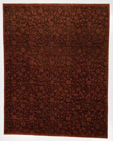 7.9 x 9.1' Chocolate and Rose Overdyed Ziegler Rug
