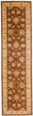 2.58 x 9.83' Brown and Beige Peshawar Ziegler Runner Rug