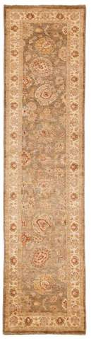 2.42 x 9.75' Grey and Tan Peshawar Runner Rug