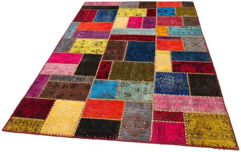5x7 Multi Colored Overdyed Patchwork Rug Floor view