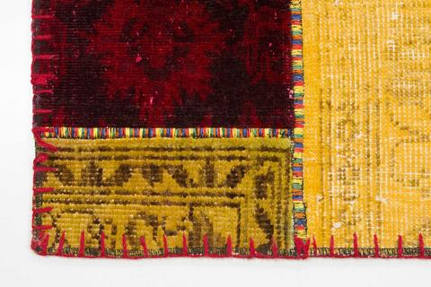 5x7 Gold/red Overdyed Patchwork Rug Close-up