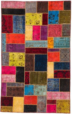 5x7 Multi Colored Overdyed Patchwork Rug Overhead