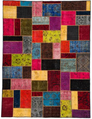 7x9 Yellow/Candy Overdyed Patchwork Rug Overhead