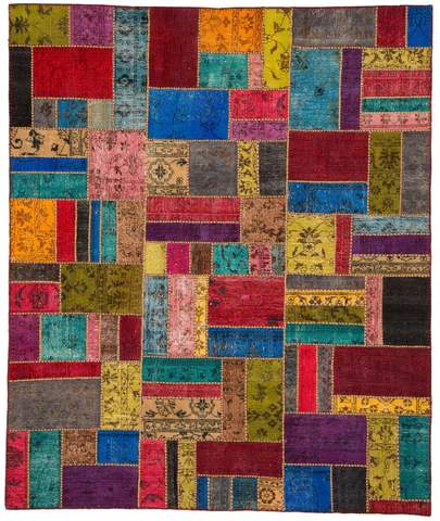 8x10 Yellow/Sky Overdyed Patchwork Rug Overhead