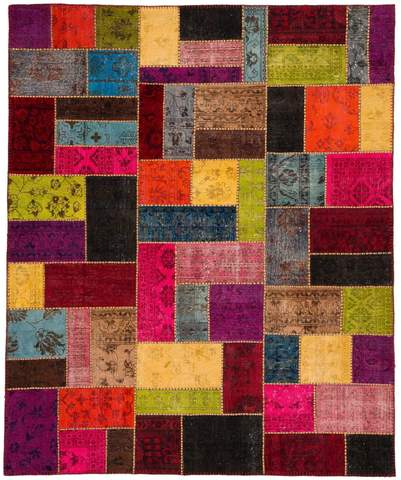 8x10 Multicolor Overdyed Patchwork Rug Rectangle Overhead