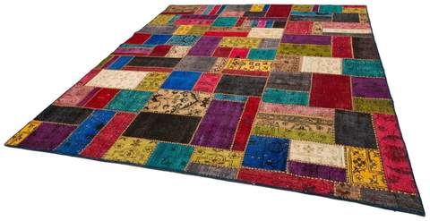 8x10 Red/Mustard Overdyed Patchwork Rug Floor view