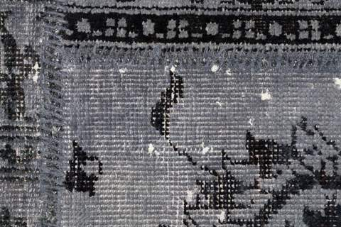 8x10 Grey/Shadow Overdyed Patchwork Rug close up to see the pattern