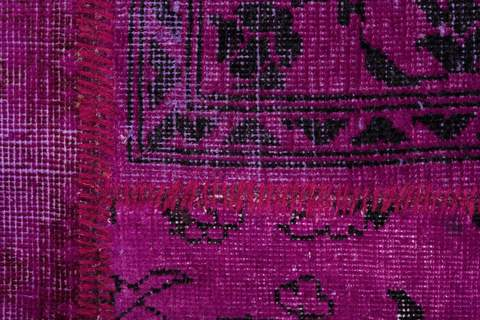 8x10 Magenta/Violet Overdyed Patchwork Rug close-up to see the pattern