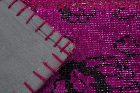 8x10 Magenta/Violet Overdyed Patchwork Rug close-up to see the hand knots