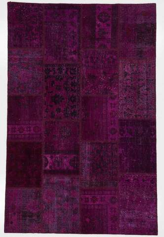 6x9 Violet/Pitch Overdyed Patchwork Rug Overhead
