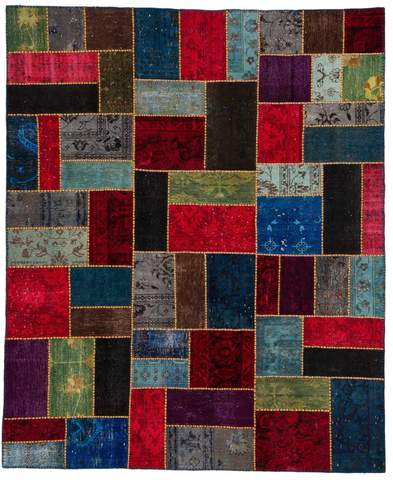8x10 Scarlet/Ocean Overdyed Patchwork Rug Overhead