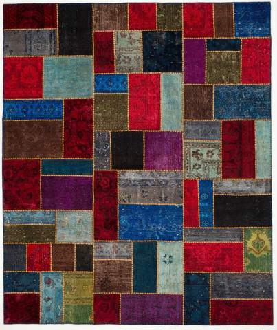 8x10 Multicolored Overdyed Patchwork Rug Rectangle Overhead
