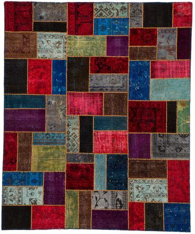 8x10 Walnut/Red Overdyed Patchwork Rug Overhead