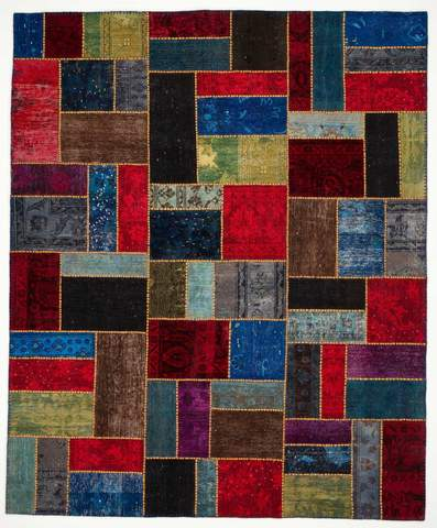 8.17x9.92' Multi Colored Overdyed Patchwork Rug