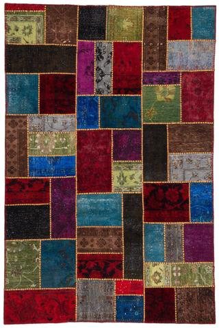 6x9 Currant/Lapis Overdyed Patchwork Rug Overhead