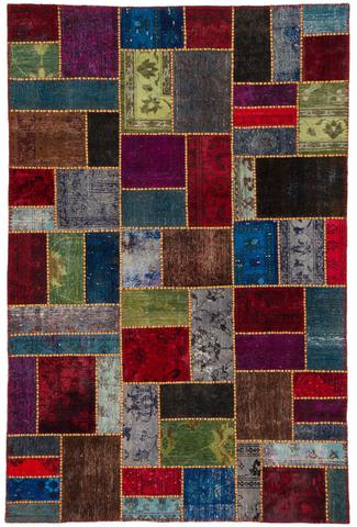 6x9 Crimson Spice Overdyed Patchwork Rug Overhead