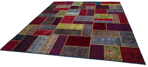 8x10 Red/Wine Overdyed Patchwork Rug Floor view