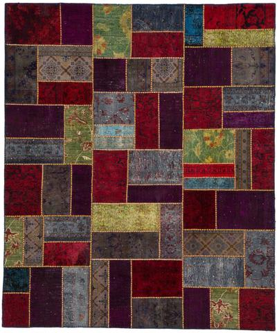 8x10 Red/Wine Overdyed Patchwork Rug Overhead