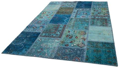 6x9 Arctic/Blue Overdyed Patchwork Rug Overhead Floor View