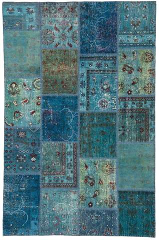 6x9 Arctic/Blue Overdyed Patchwork Rug Overhead