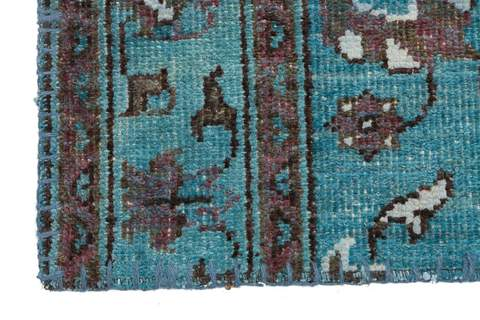 10x14 Ocean/Blue Overdyed Patchwork Rug close-up of patterns