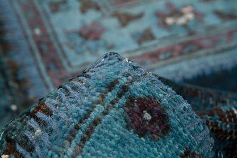 10x14 Ocean/Blue Overdyed Patchwork Rug zoom in & folded