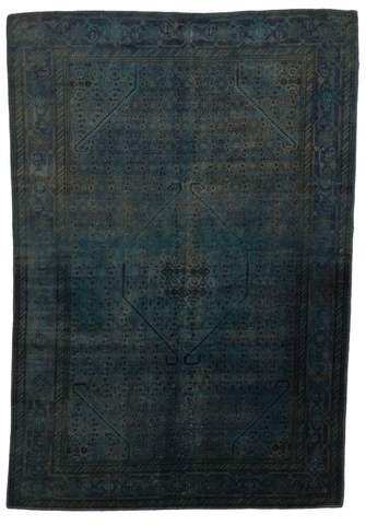 6.5 x 9.42' Blue Overdyed Antique Rug