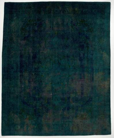 9.87 x 12.25' Blue Overdyed Antique Rug
