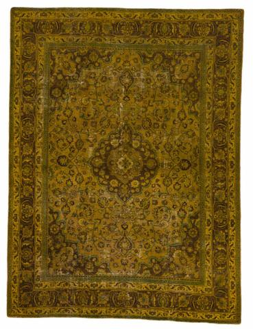 8.58 x 11.42' Golden Overdyed Antique Rug