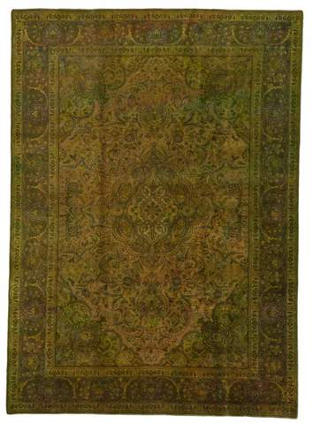 8.08 x 11.33' Green Overdyed Antique Rug