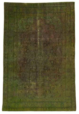 6.17 x 9.17' Green Overdyed Antique Rug