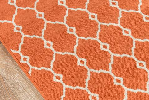 Orange Egyptian Geometric Modern Rug 1
