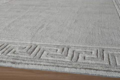 Grey Chinese Geometric Modern Rug 1