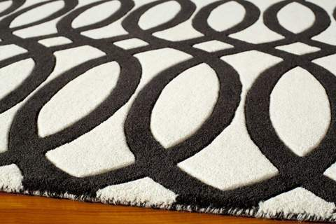 Black Indian Geometric Modern Rug 1