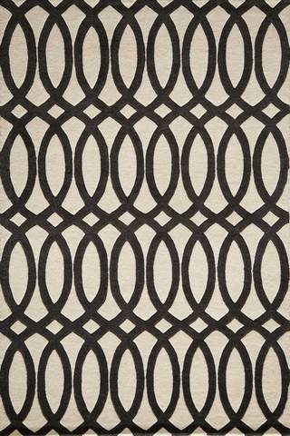 Black Indian Geometric Modern Rug