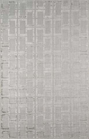 Grey Indian Geometric Modern Rug