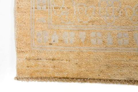 8' x 11' Faded  Gold/Slate Grey Wool & Silk Rug