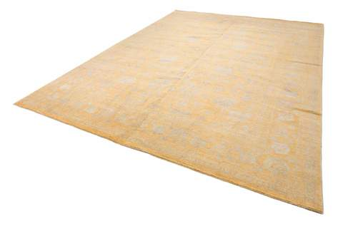 8.11 x 12' Yellow and Grey Wool & Silk Rug 1