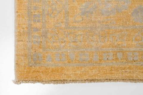 8.11 x 12' Yellow and Grey Wool & Silk Rug 2