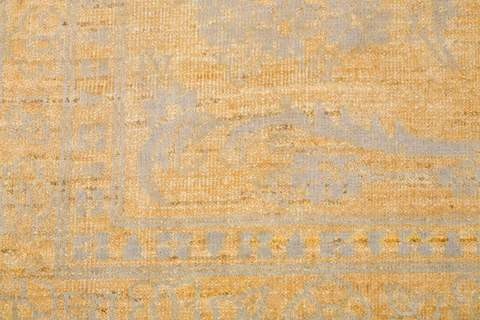 8.11 x 12' Yellow and Grey Wool & Silk Rug 3
