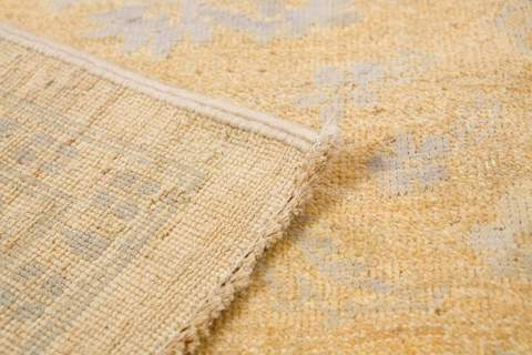 8.11 x 12' Yellow and Grey Wool & Silk Rug 4