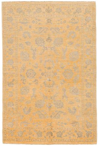 4 x 6.1' Yellow and Gray Wool & Silk Rug