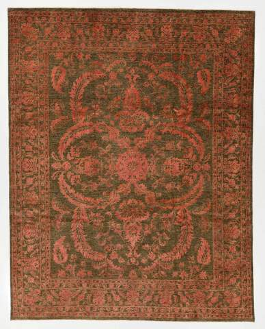 7.11 x 10.1' Green and Pink Wool & Silk Rug