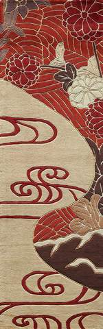 Red Chinese Floral Modern Rug 2