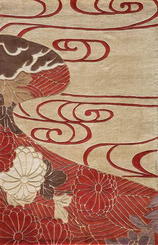 Red Chinese Floral Modern Rug