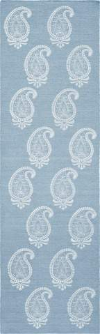 Soft Blue Indian Transitional Flat Weave Rug 2